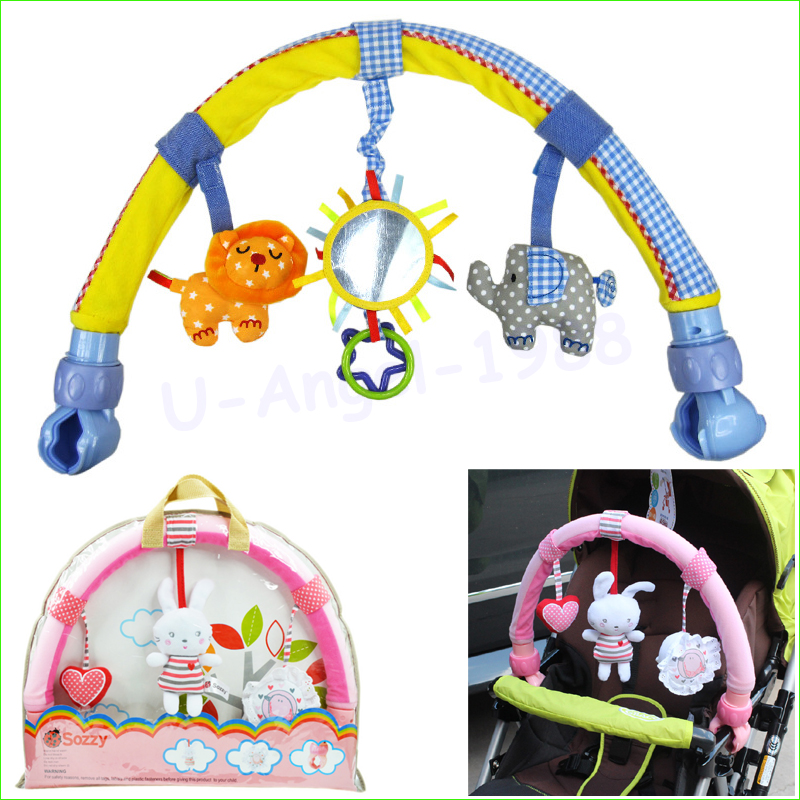 1pcs Baby hanging baby blue elephant and pink bunny music toy Baby Bed & Stroller Toy Baby Rattle(China (Mainland))