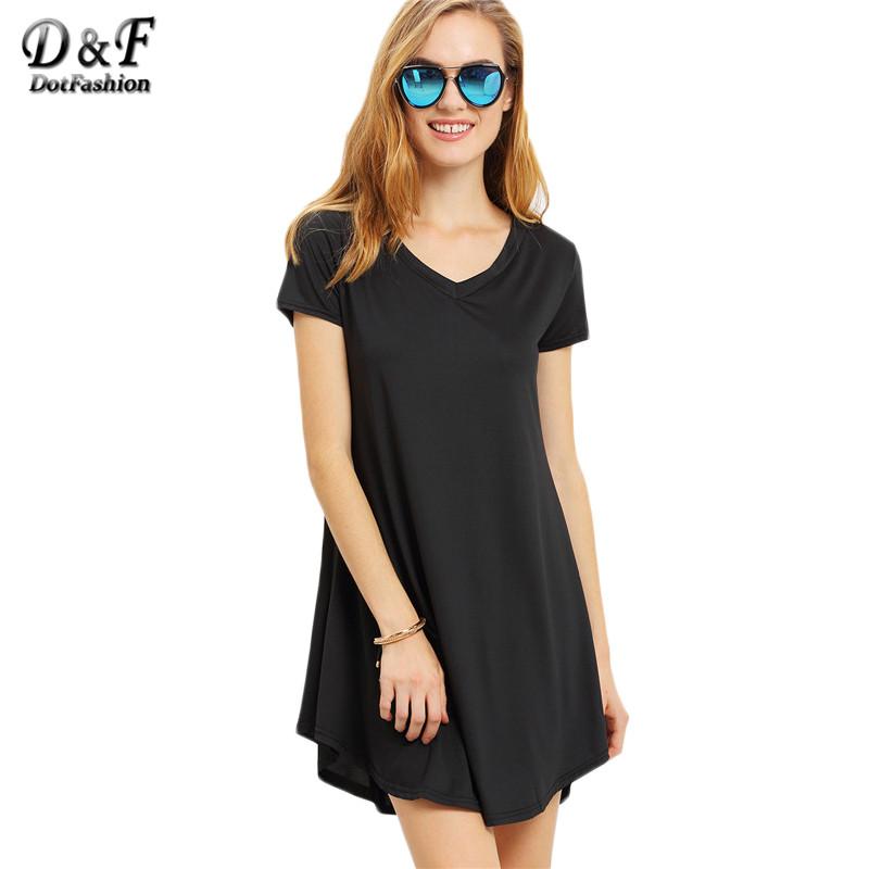 Dotfashion 2016 Summer Plain V-Neck Short Swing Tshirt Dress Women Casual Wear Short Sleeve Loose Mini Dress(China (Mainland))
