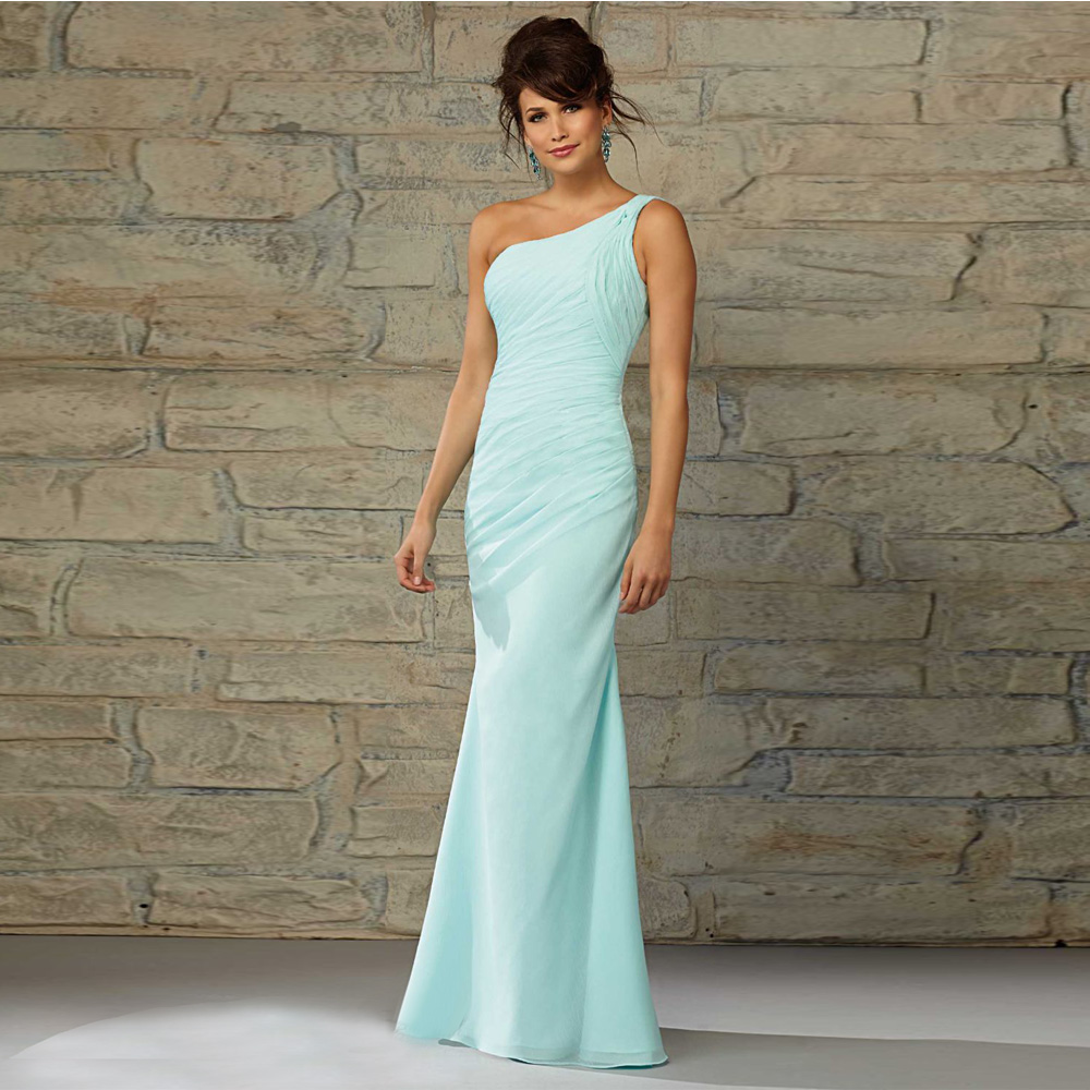 Buy mint green 2016 one shoulder long for Green beach wedding dresses