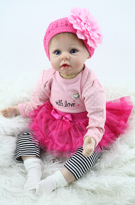 22inch 55cm Silicone baby reborn dolls, lifelike doll reborn babies toys for girl pink princess gift brinquedos for childs(China (Mainland))