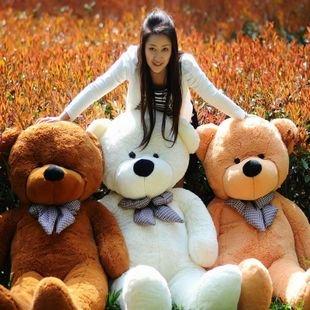 "78"" 200cm Giant Size Finished Stuffed Teddy Bear Christmas Gift Hot Sale Big Size Teddy Bear Plush Toy Birthday Gift(China (Mainland))"