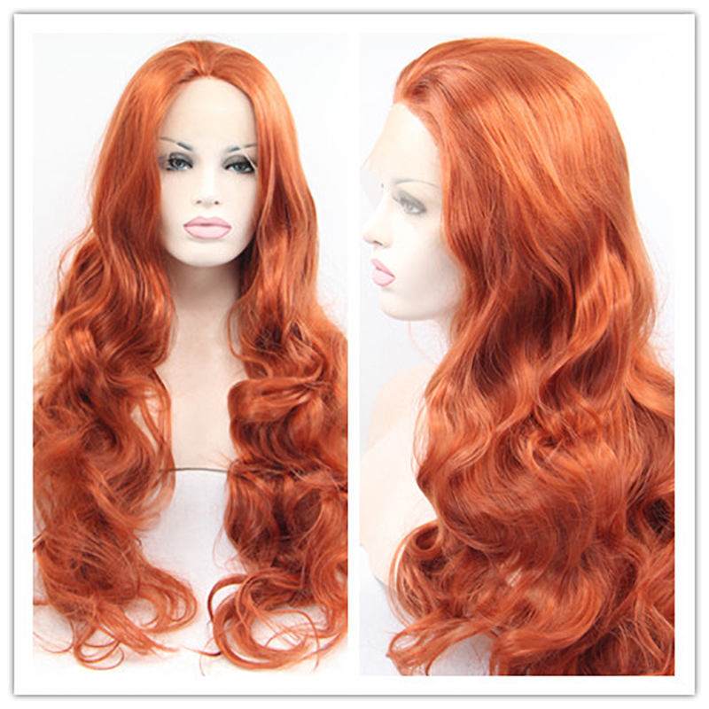 Free Shipping 2016 Hot sale Heat Resistant Synthetic Wigs Body wave red Synthetic Lace Front Wigs for Women(China (Mainland))