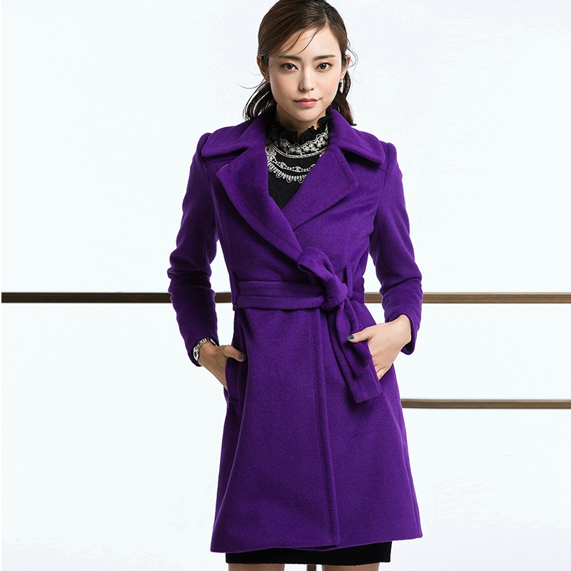 Womens Purple Wool Coat - JacketIn
