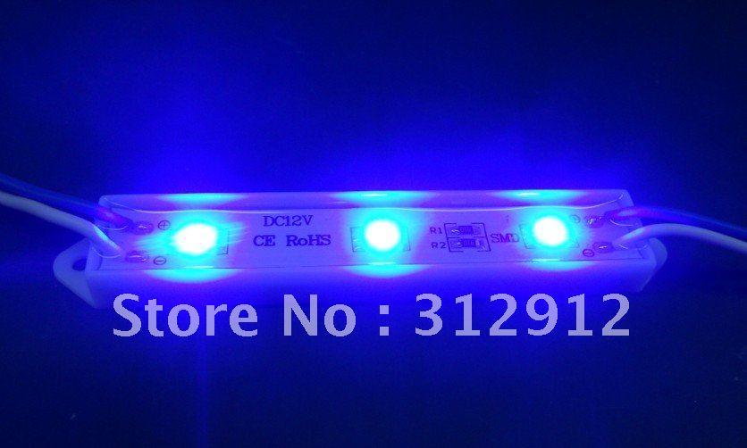 3pcs 5050 SMD LED module,plastic case,BLUE color,DC12V,20pcs a string;75mm*12mm(China (Mainland))