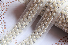 Wholesale Price 2Yards 4cm Pearl Rhinestone Beaded Lace Trim Vintage Mesh Fabric Paillette Lace Wedding Dress Dentelle Applique(China (Mainland))