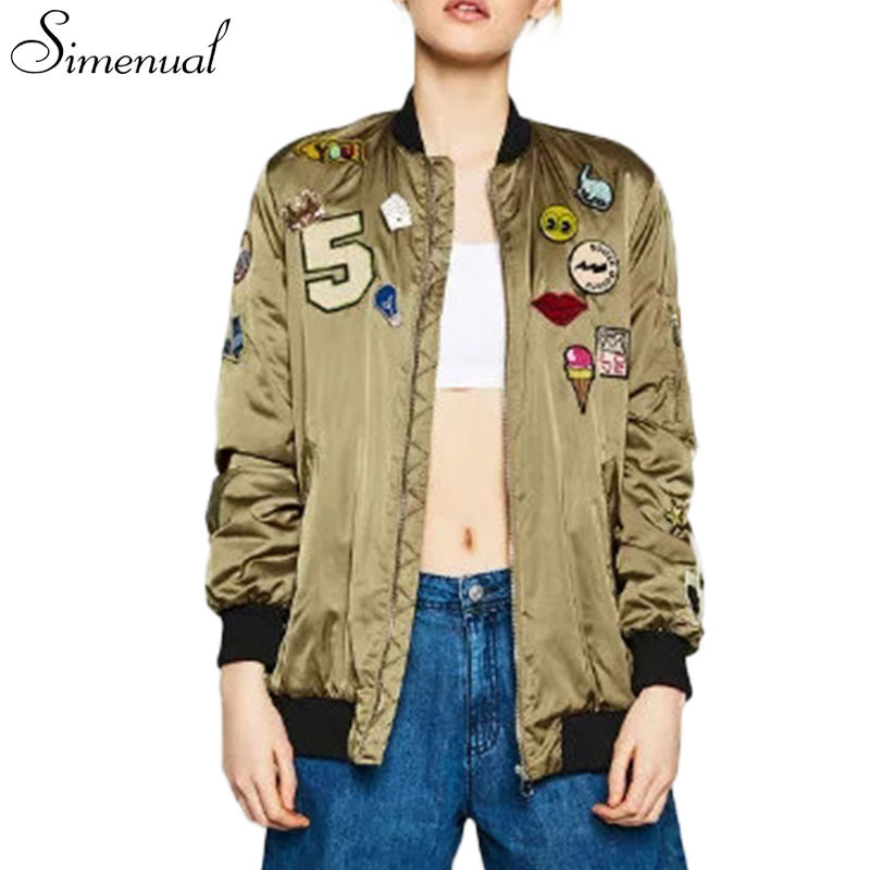 Harajuku 2016 fashion female bomber jacket winter clothing outwear patch designs sequins women jackets coats funny pattern sale(China (Mainland))