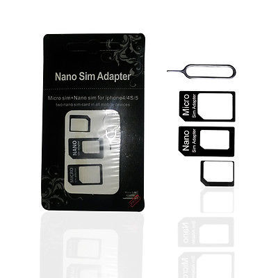 Black Nano SIM Card to Micro Standard Adapter Adaptor Converter Set For Iphone 4S 5 5S(China (Mainland))