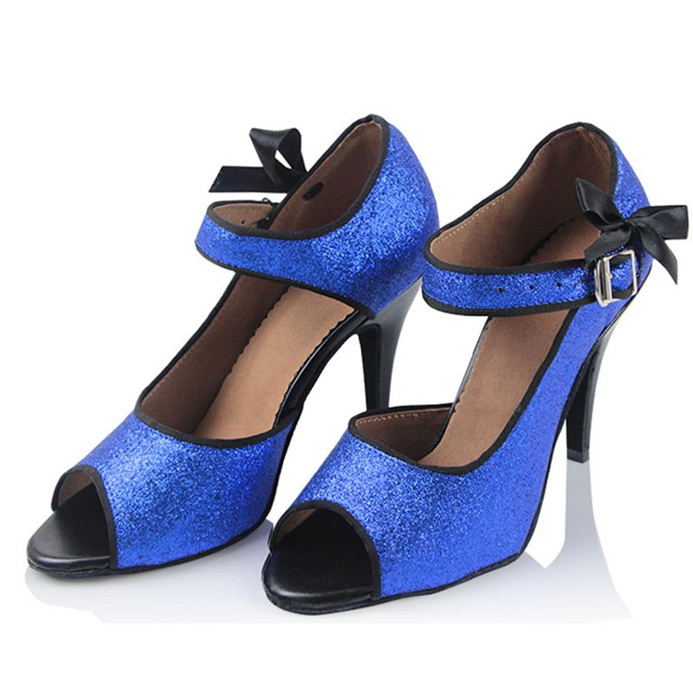 Customizable Fitness Peep Toe Med Heel Sequined Cloth Women's Ballroom Tango Latin Dance Shoes Blue