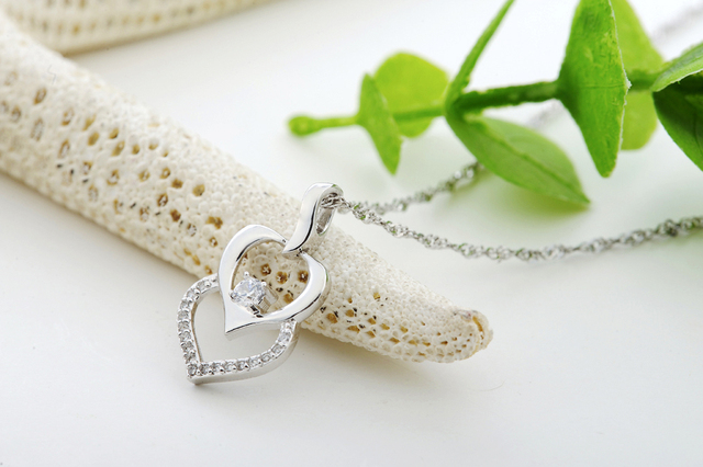Certified 100% Solid Sterling silver 925 necklaces & pendants Solitaire CZ Double Hearts Pendant w/ 18'' Sterling Chain