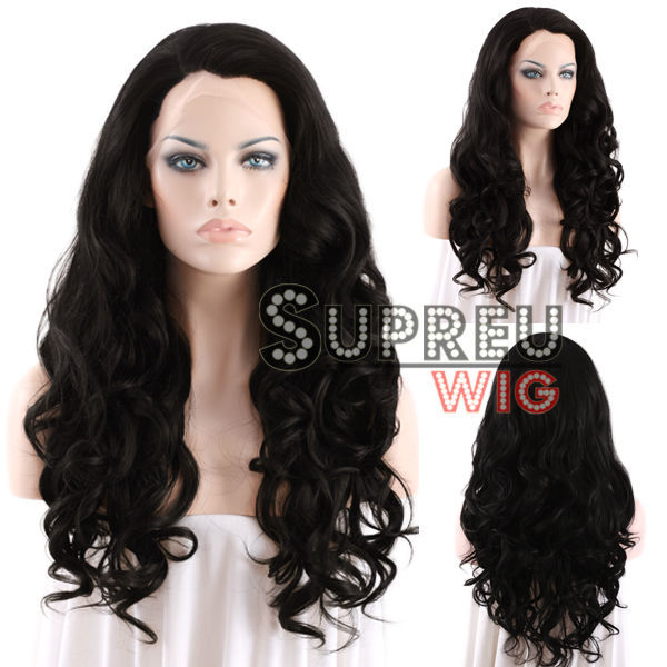 24 Long Curly Wavy Jet Black Lace Front Wig Heat Resistant LW134<br><br>Aliexpress