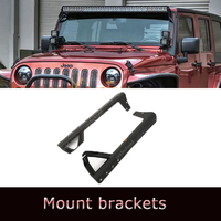 "Steel Cab Windshield Mounting Brackets 50"" 52"" LED Work Light Bar Bumper Holder for 07-13 Jeep Wrangler JK"