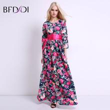 BFDADI Новый год сбора винограда Способа Цветы женщины печати случайные свободные весна Лето Длинное платье свадебные платья 2017 платья BF016(China (Mainland))