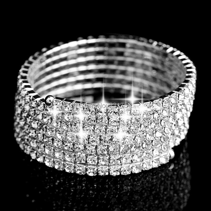 6Rows Crystal Spiral Upper Arm Cuff Armlet Bracelet Rhinestone Armband Armlet Bracelets Bangle Silver Sexy Women Bracelet (China (Mainland))