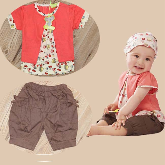 Cotton Summer Baby Girls Floral Fruits Clothes Sets Infants Tops Tee+Shorts+Hat Toddler Outfits 0-2 Years G658(China (Mainland))