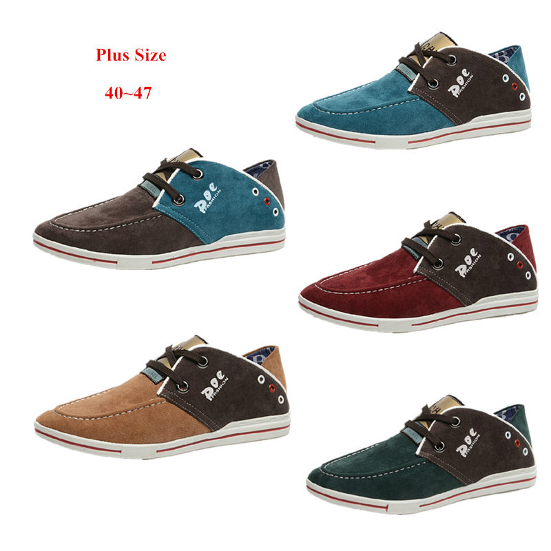 Mens Leisure Shoes 2015 New Brand Men's Fashion Sneakers Patchwork Canvas Outdoor Flats Size 40-47 #S409 - ST Walking store
