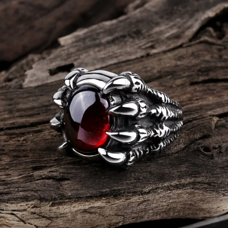 2016 Fashion Inoxidable Anillo New Male Ring Popular Punk Style Stainless Steel Rings jewelry Ruby Skull Claw Ring Man R-128