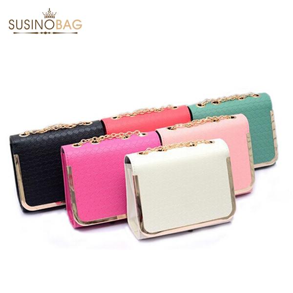 2015 New Multicolor Women Messenger Bag Classic Stone Grain Women Leather Handbags Chain Clutch Women Handbag(China (Mainland))