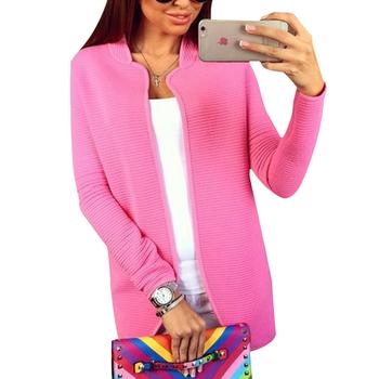 2015 новый женский крючком с длинным рукавом вязаный кардиган рубашка блузка топы свитер пальто сплошной цвет 4 размер розовый женская одежда Q1803