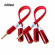 AiSMei 3.5mm Stereo Audio Jack Male to 2 Female Cable Noodles Headset Audio Mic Y Splitter Cable Earphone Headphone Adapter