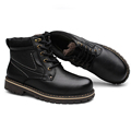 Men Winter Boots Casual Shoes High top Plush Black Martin Boots Snow Boots Genuine Leather Man
