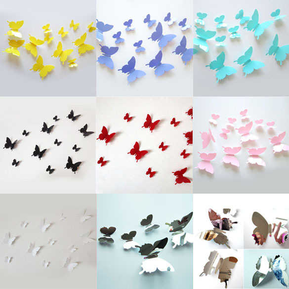 Free Shipping Hot Sale 12Pcs Stereoscopic Butterfly 3D Wall Stickers Living Kids Bed Room Decor Art papel de parede E5M1(China (Mainland))