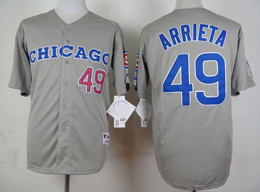 New Chicago Cubs #49 Jake Arrieta 1990 vintage gray reverse Baseball Jersey Free shipping(China (Mainland))