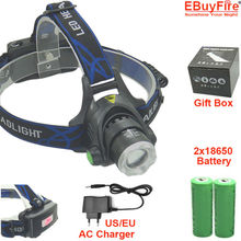 Zoom Rechargeable Headlight 18650 Led Headlamp Waterproof XM-L T6 2000LM Head Lamp Light +2x 3.7v 18650 Battery + Charger(China (Mainland))