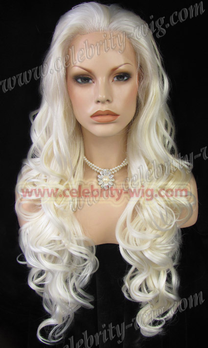 N5-1001/613# Bleach Blonde Color Long Water Wavy Texture Synthetic Lace Front Wig Charming Hairstyle Cosplay Party Wig(China (Mainland))