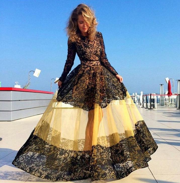 2015 Europe Fashion High-end New Sweet Style Long Sleeve Lace Patchwork Gauze Long Holiday Dresses(China (Mainland))
