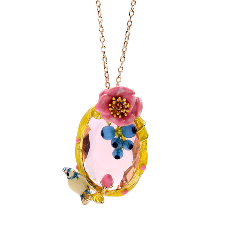 QDSJ-5 Fresh Cute Flower & Bird Shape Necklaces 18K Gold Plated Rhinestone Pendants Necklaces For Women Summer Gifts For Friends(China (Mainland))
