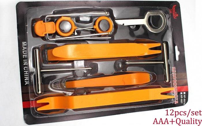 Portable diagnostic tool 1 Set 12pcs Plastic Car Radio Door Clip Panel Trim Dash Audio Removal Pry Tool Repairing AAA quality(China (Mainland))