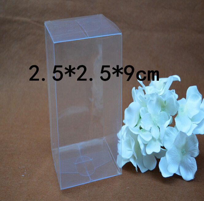 Size:2.5*2.5*9cm clear packaging boxes wholesale clear plastic shoe packing boxes plastic pvc clear boxes 30pcs/lot(China (Mainland))