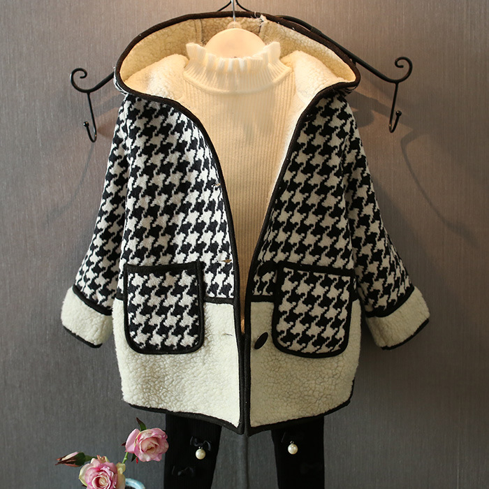 new 2015 autumn winter casual Houndstooth woolen coat for girls clothes Plus velvet warm children jackets