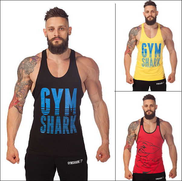 Gym Shark Men's LoudMouth Stringer Tank Tops, Gymshark Bodybuilding Fitness Singlets Sports Muscle Shirt Clothes - SUMTOP TECHNOLOGY CO.,LTD. store