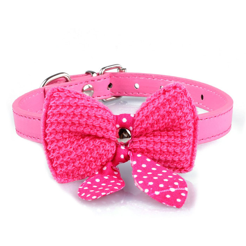 Knit Bowknot Adjustable PU Leather Dog Puppy Pet Collars Necklace Dog Collars(China (Mainland))