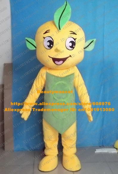 New Yellow Apple Baby Mascot Costume Mascotte Mandarin Pomelo Orange Tangerine With Happy Face Green Bellyband No.3532 Free Ship(China (Mainland))