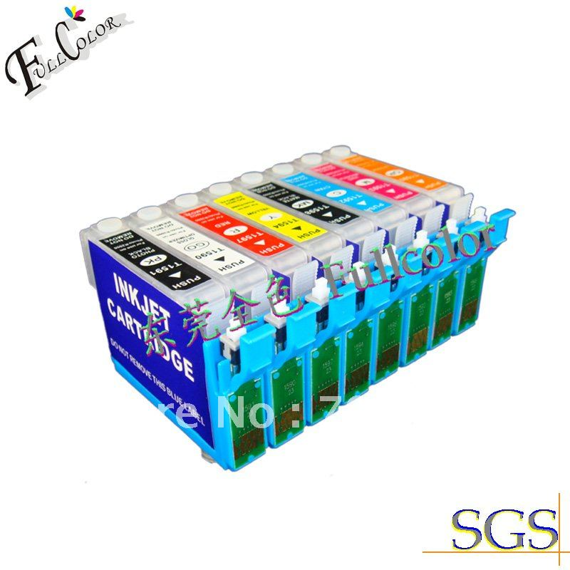 Free shiping ! New refill ink Cartridge with new permaent chip for Epson printer stylus photo R2000  8color ink cartridge<br><br>Aliexpress
