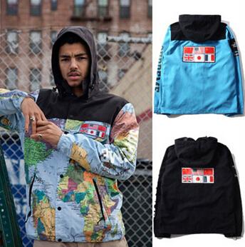 men Map Jacket Hooded Coat Cooperation Models Suprem Jackets Reflective Flag Outdoor mens jackets and coats Black Blue Yellow(China (Mainland))