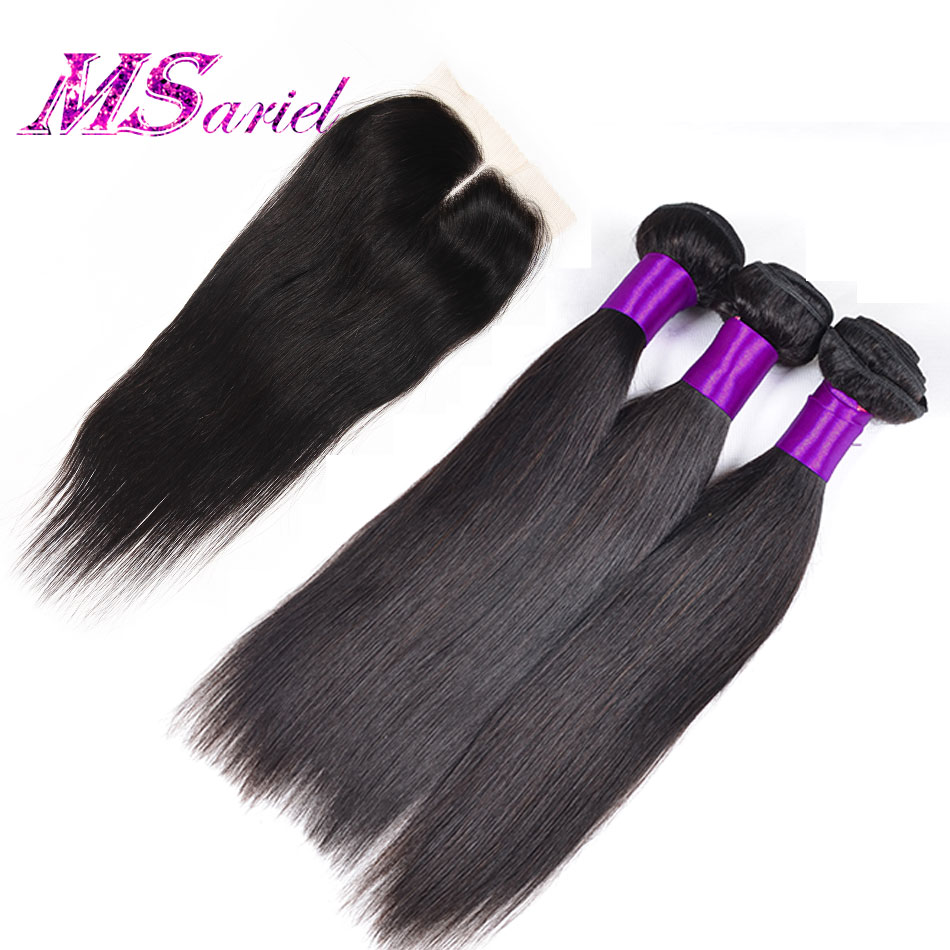 3Pcs/Lot Brazilian Virgin Hair Straight With Closure 7a Human Hair Bundles With Lace Closures Brazilian Hair Weave Bundles HC<br><br>Aliexpress