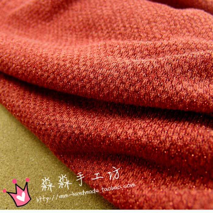FREE SHIPPING Autumn and winter cloth hollow brick red wool golden orange cardigan dress collection flash knitted elastic fabric(China (Mainland))