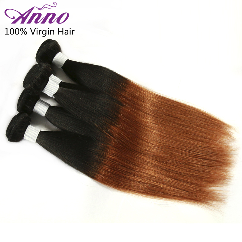 Rosa Hair Anno Products 7A Brazilian Ombre 1B#27 Hair Extensions Straight Ombre Human Hair Weave 3 Bundles Brazilian Virgin Hair