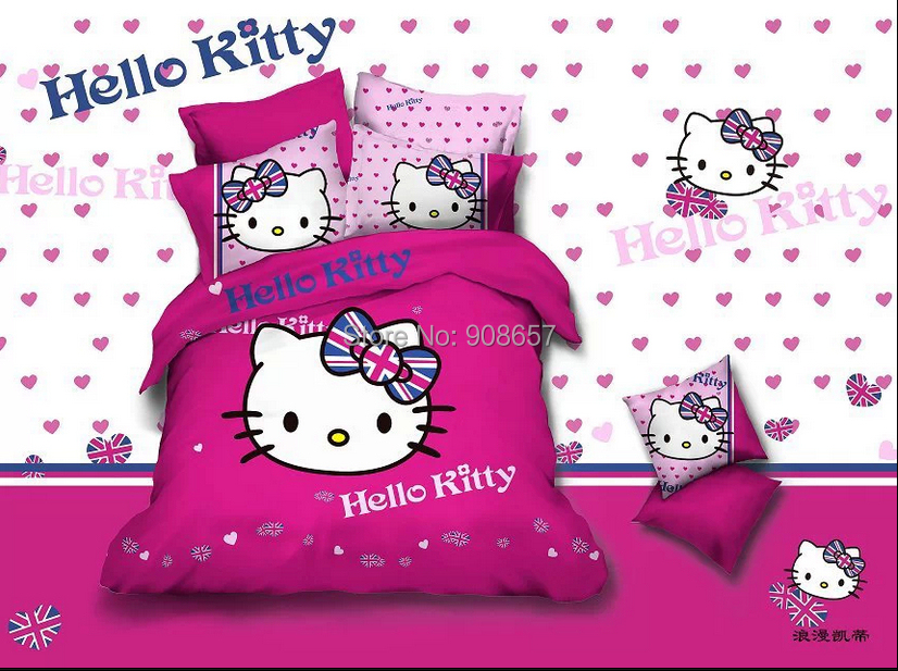violet red hello kitty home decor girls bedding set children bedclothes cotton full/queen bed comforter/quilt covers sheet 4pc(China (Mainland))