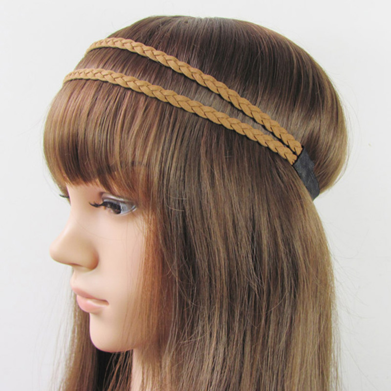 12pcs Fashion Womens Double Suede Braids Headband Hippie Hairband Girls Hohemian Headbwrap Fashion Hair Accessories(China (Mainland))