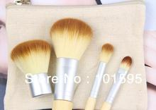 Hot sale Fashion 4 pcs BAMBOO Portable Makeup Brushes Make Up Make-up Brush Cosmetics Set Kit Tools free shipping
