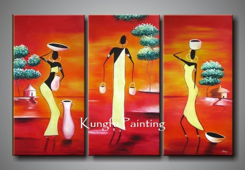 100% handmade modern 3 panel wall art canvas abstract <font><b>african</b></font> canvas art landscape <font><b>decoration</b></font> <font><b>home</b></font> gift free shipping