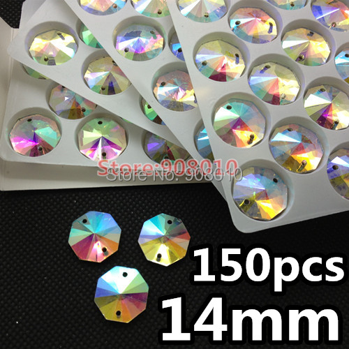 150pcs/box 14mm Round Octagon Sew On Rhinestone Crystal AB Color Octagonal Sewing Glass Crystal Stone For Dress Making(China (Mainland))