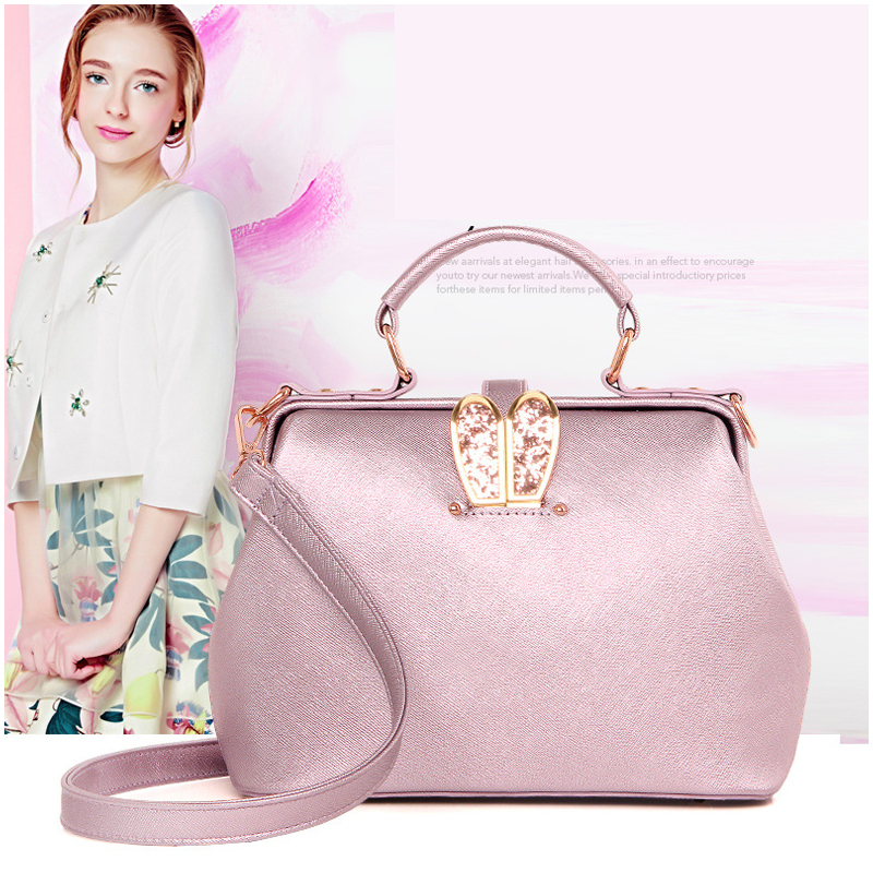 NEW Fashion Summer Bag Ladies 2016 Korean Style Glitter PU Leather Doctor Bag Shoulder Women Message Bags Black/Pink(China (Mainland))