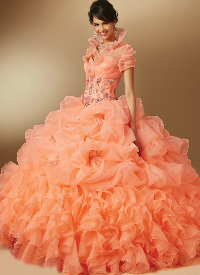 Coral Organza Sweetheart Ball Gown Quinceanera Dresses Floor Length Long Prom Gowns With Short Sleeve Jacket Style 89044(China (Mainland))