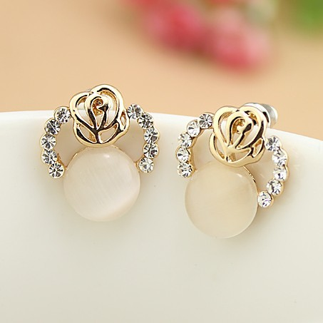 E276 Exquisite High-end Jewelry Rose Eye Earrings Small Free Shipping(China (Mainland))