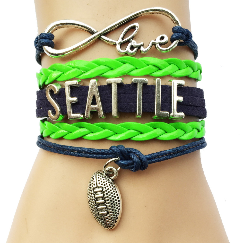 Infinity Love National Football League Seattle Seahawks Team Bracelet Navy and Neon Green Leather - Customizable(China (Mainland))